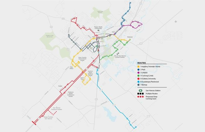 Image of all 7 fixed routes offered by San Marcos Transit