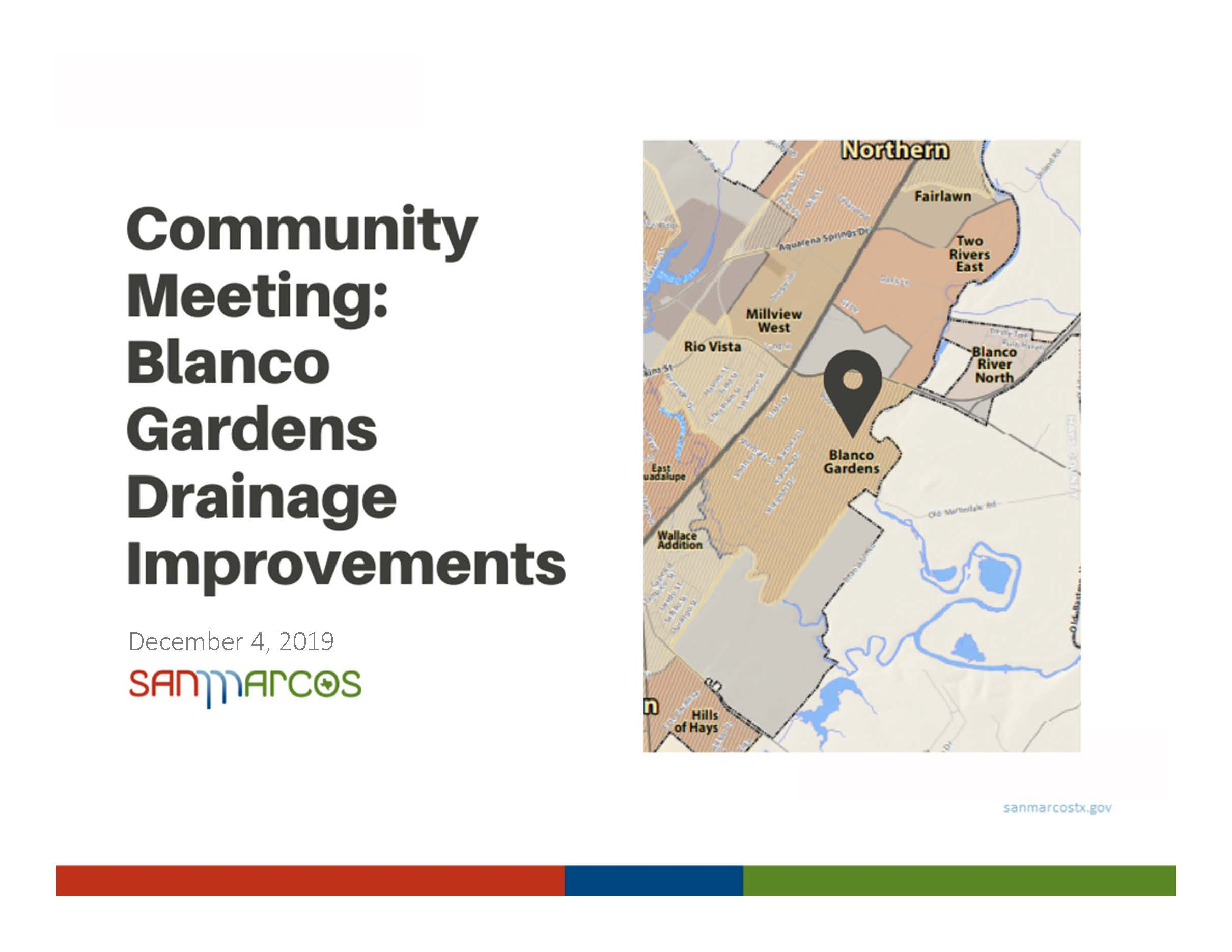 December 4, 2019 Community Meeting: Blanco Gardens Drainage Improvements Presentation (PDF)
