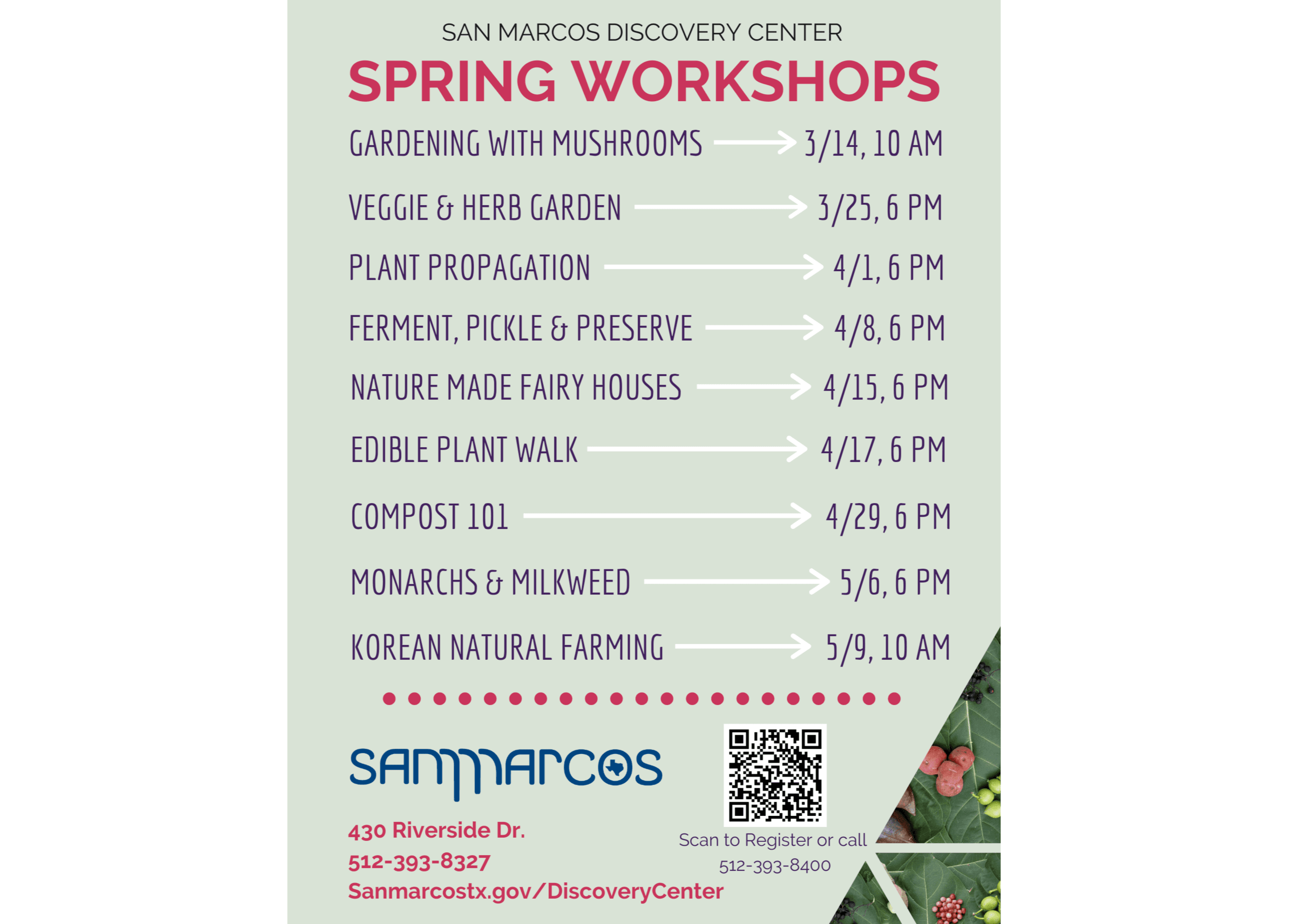 Graphic with workshops listed