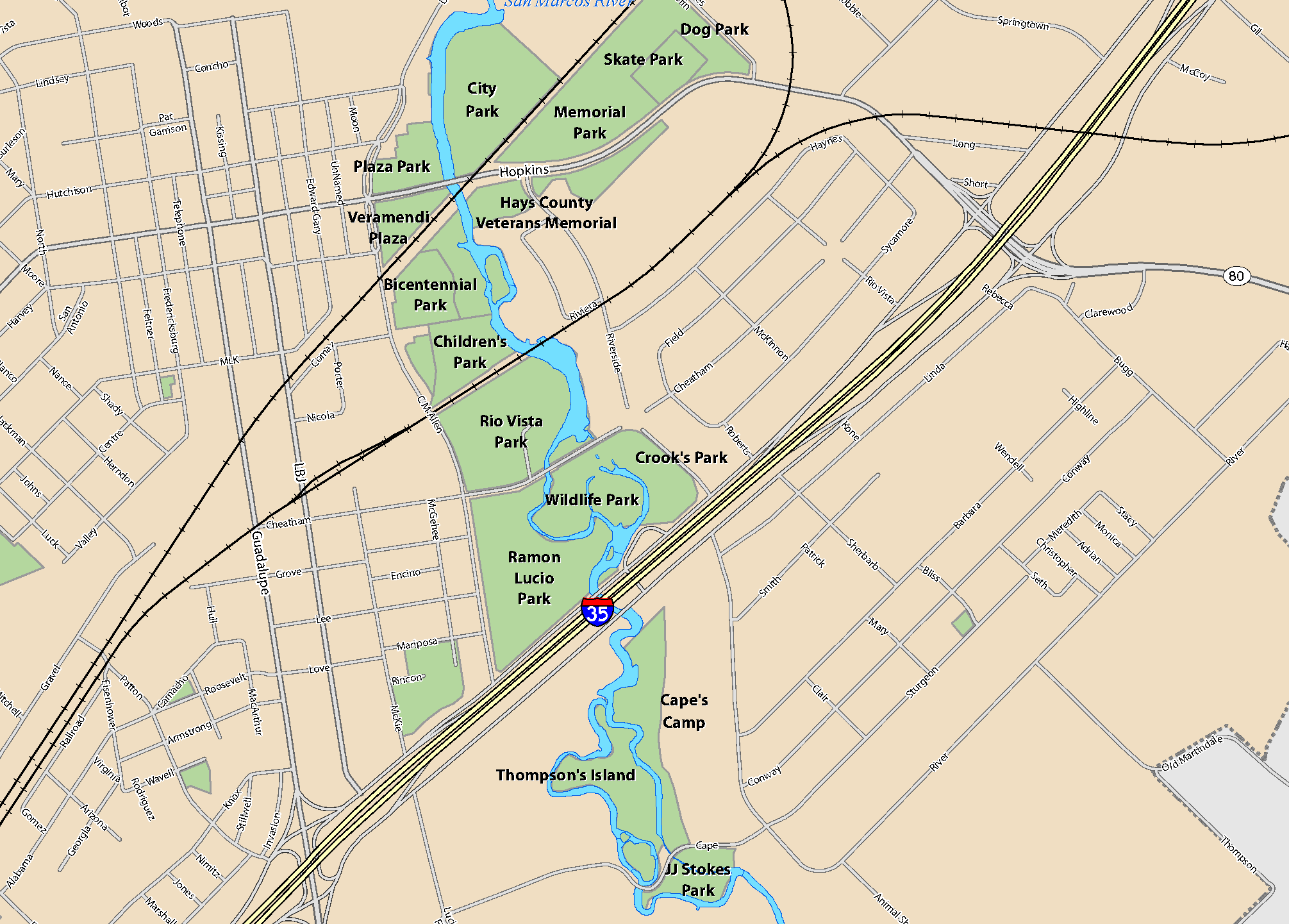 Map with San Marcos River Parks highlighted