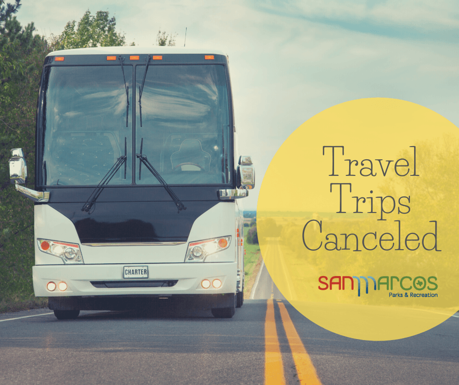 "Photo of a bus on the road with text that reads ""Travel Trips Cancelled"""