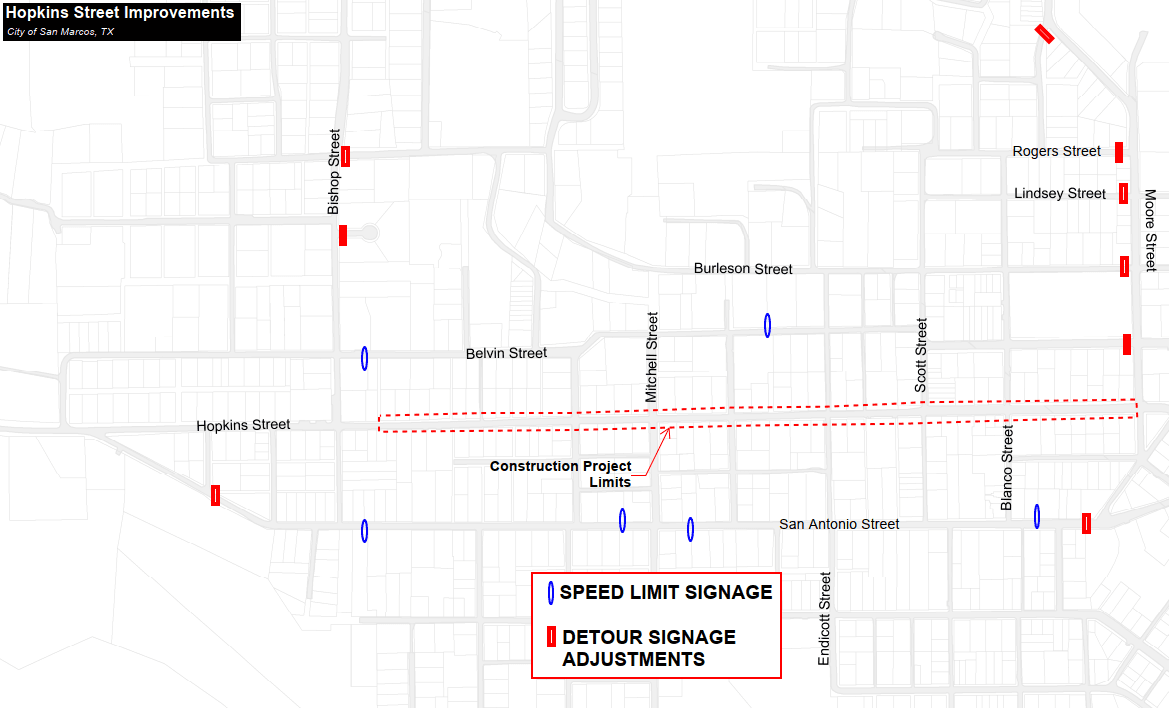 Traffic Map detailing the speed limit sign placement