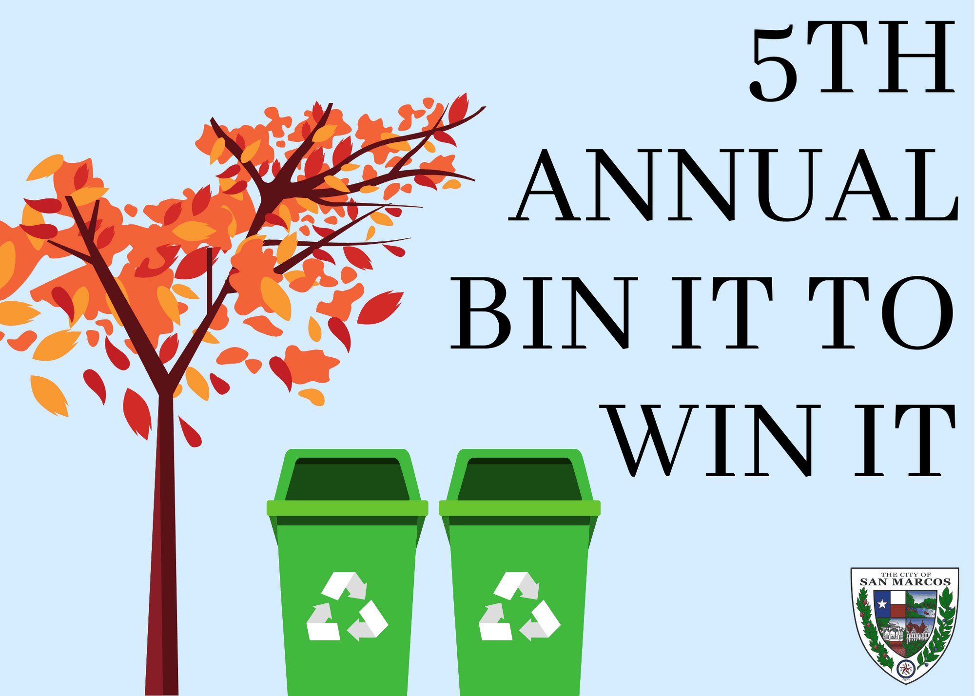 Tree and two recycling trash cans graphic