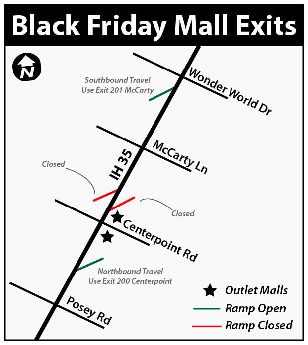 Map for Black Friday Mall Exits