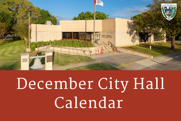 December City Hall Calendar event dates