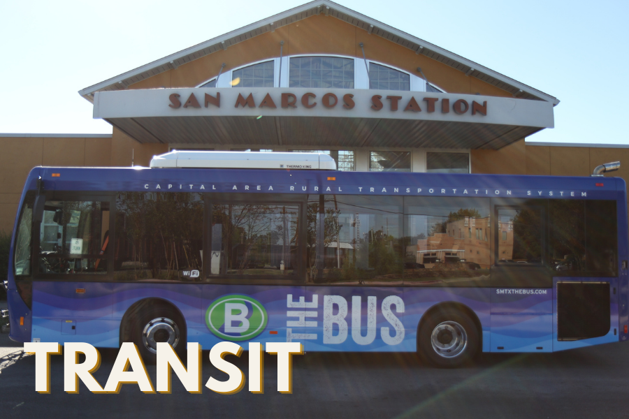 TRANSIT text over image of the bus in front of the bus station